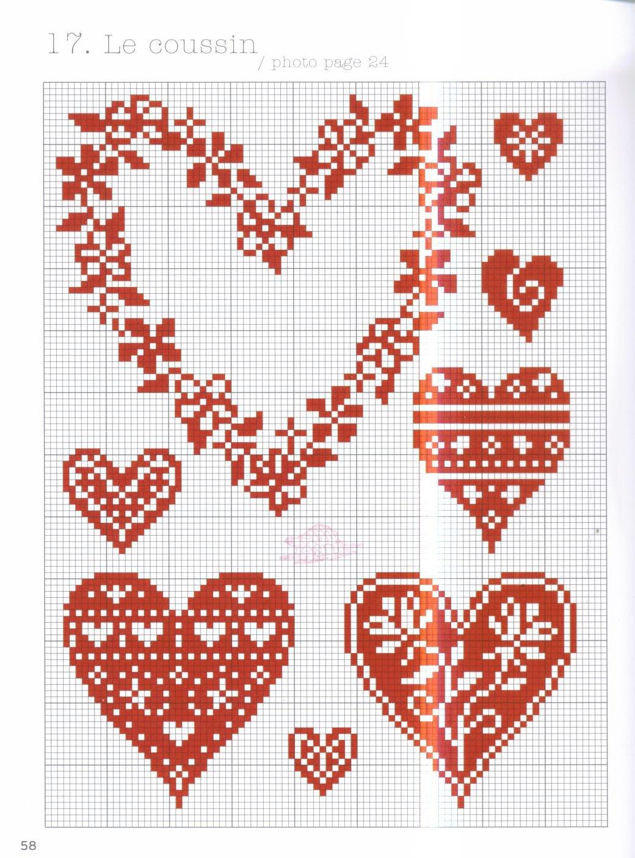 Схемы вышивка сердечек
