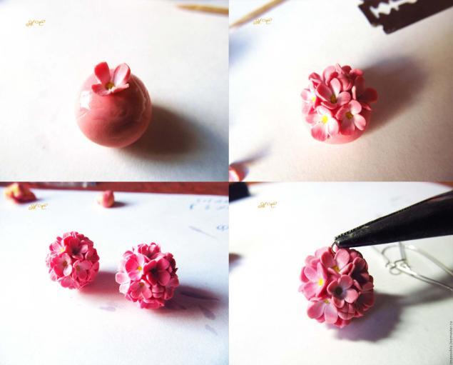 серьги цветочный шар