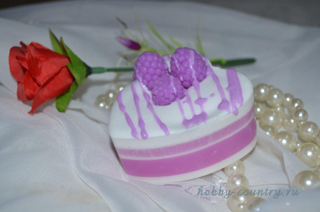 """мыло из основы """"Ежевичный тортик"""" мастер класс"""