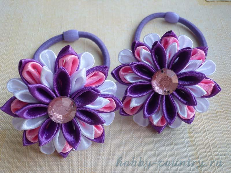 резиночки для волос с цветкам из лент