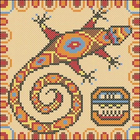 вышивка для подушки ящерица