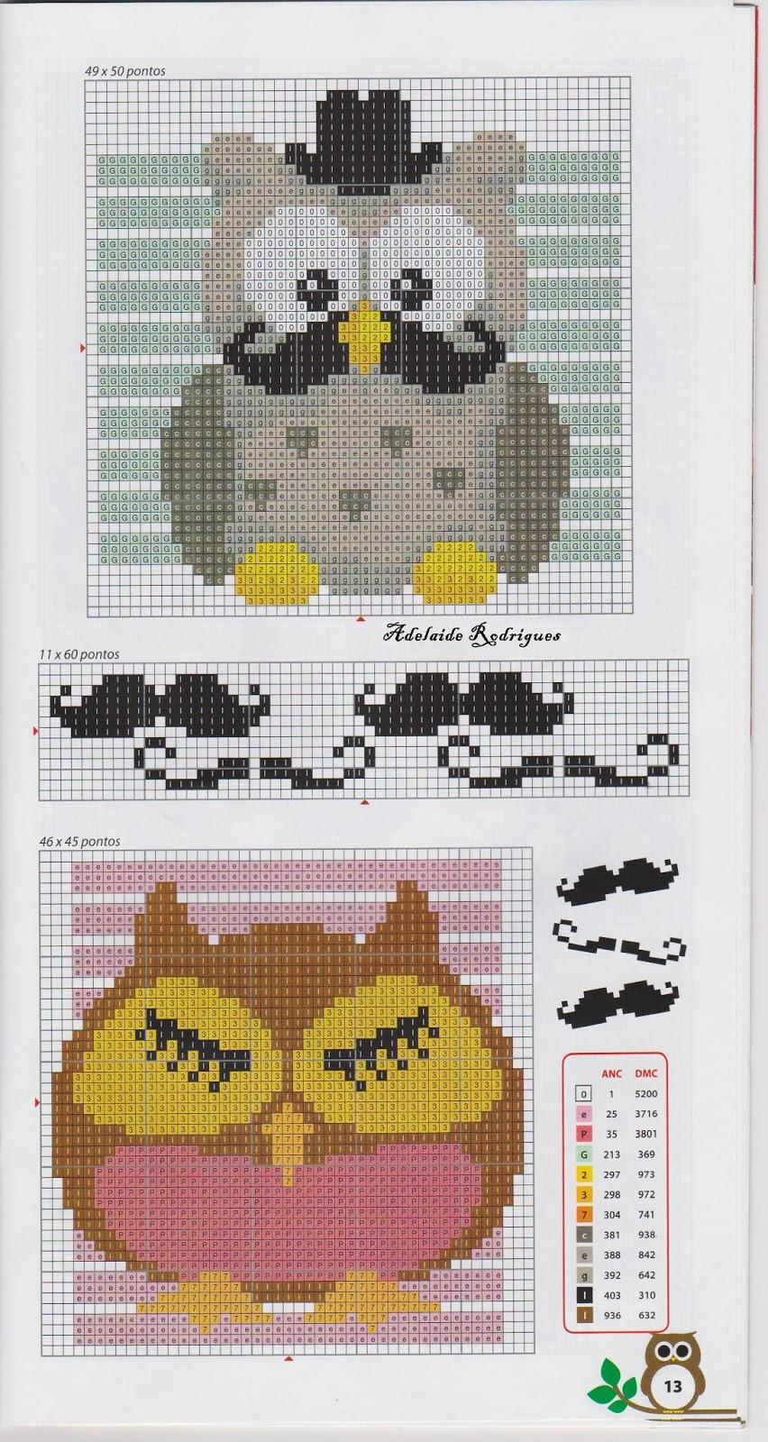 схема для вышивки сова