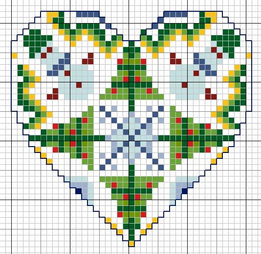 схема для вышивки сердце времена года