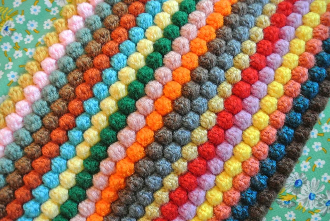 вязание крючком плед одеяло пышный столбик