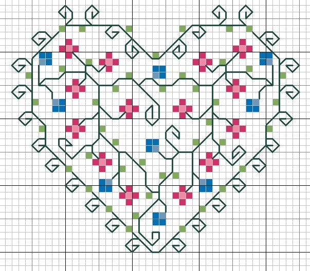 схема для вышивки сердце цветы