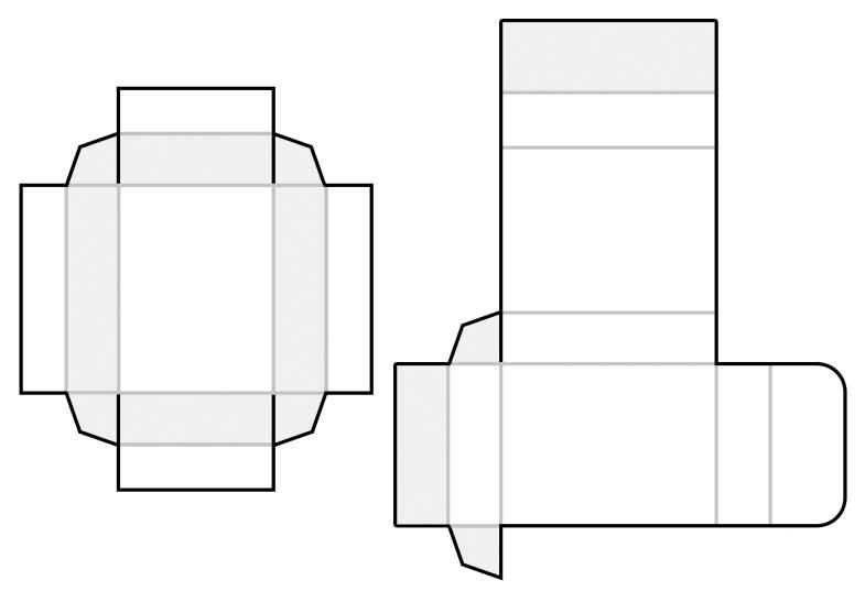 шаблон коробка с выдвижной частью