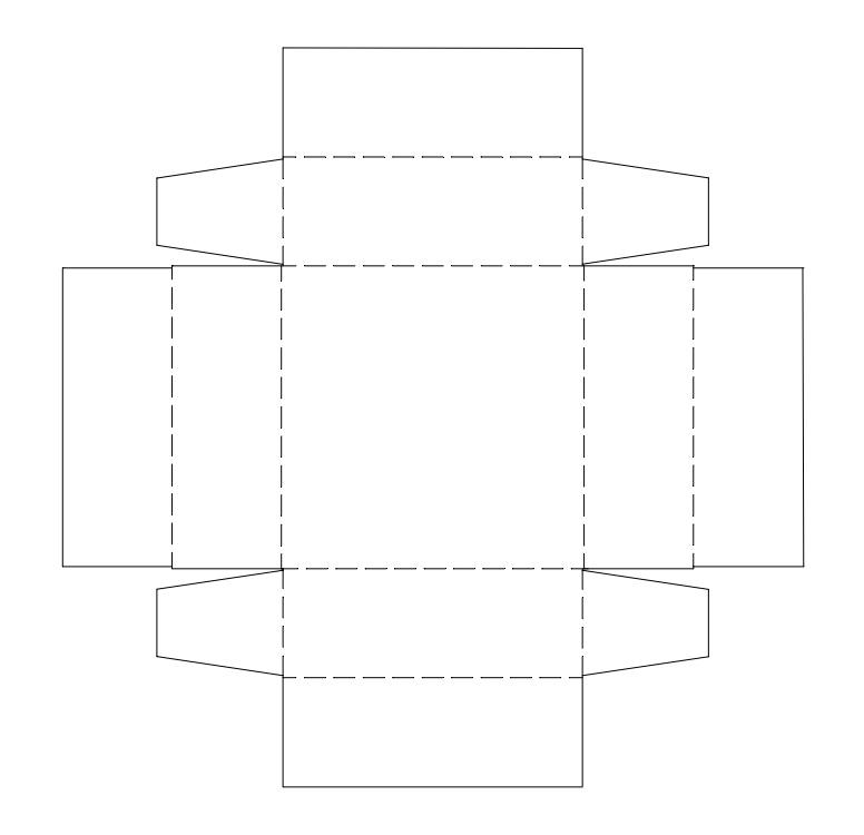 квадратная коробка с подгибом
