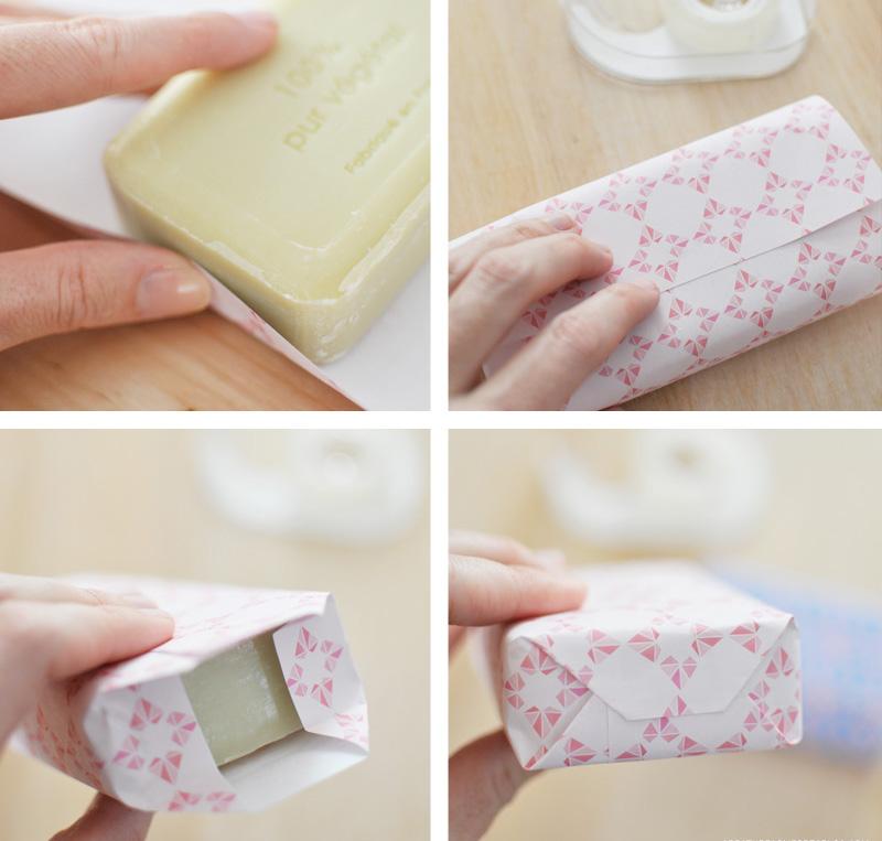 как аккуратно завернуть мыло в бумагу