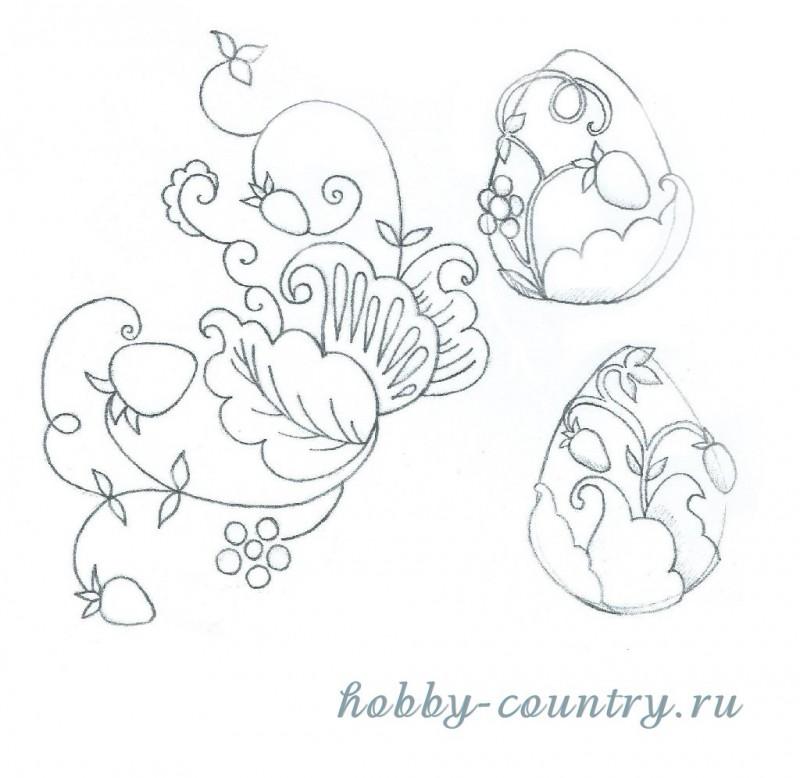 эскиз рисунка для декорирования гипсового яйца