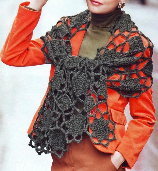 шаль шарф вязание крючком схема