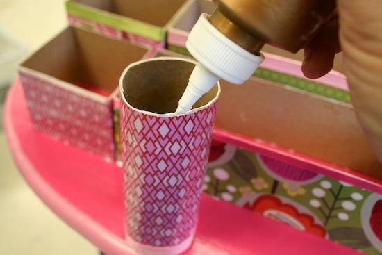 органайзер на стол из рулонов от туалетной бумаги и коробок
