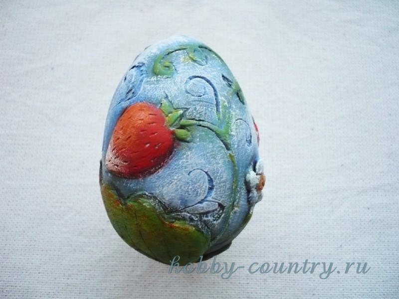 яйцо из гипса декорирование шпатлевкой