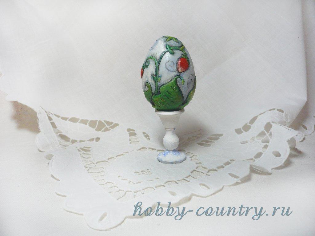 декор гипсового яйца рисунок из шпатлевки