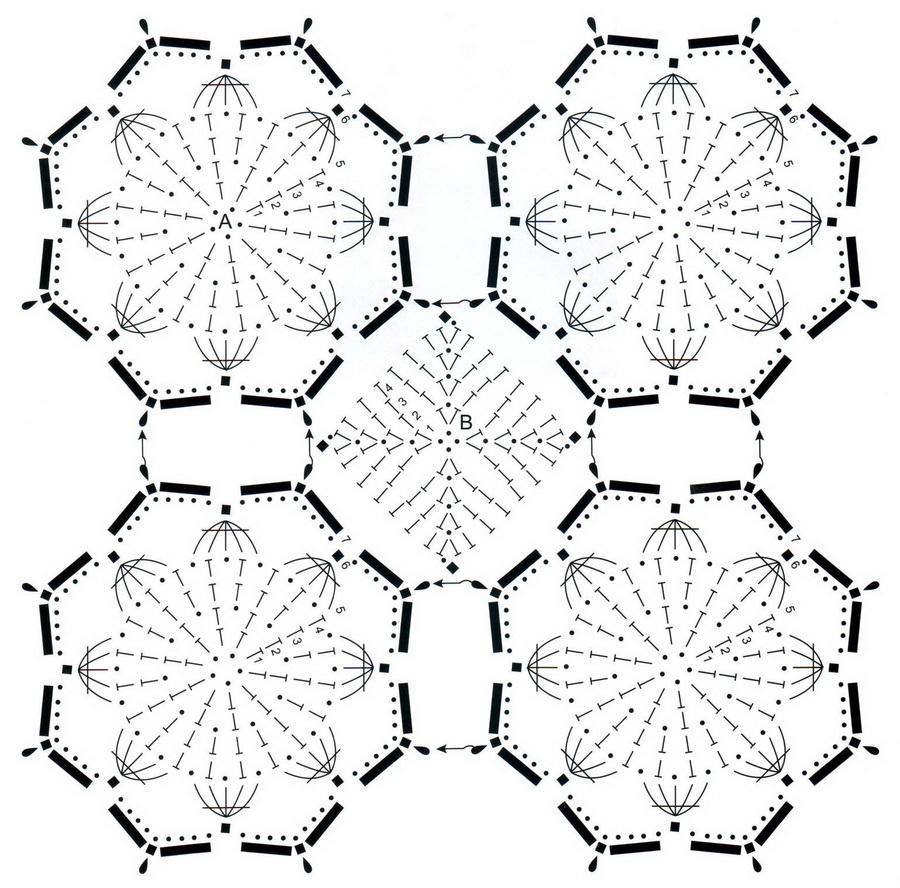 схема для вязания крючком шарф шаль элементы