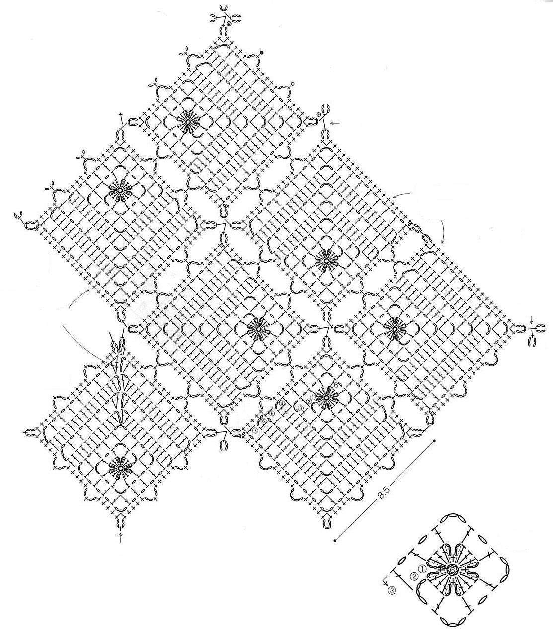 квадратные мотивы крючком футболка