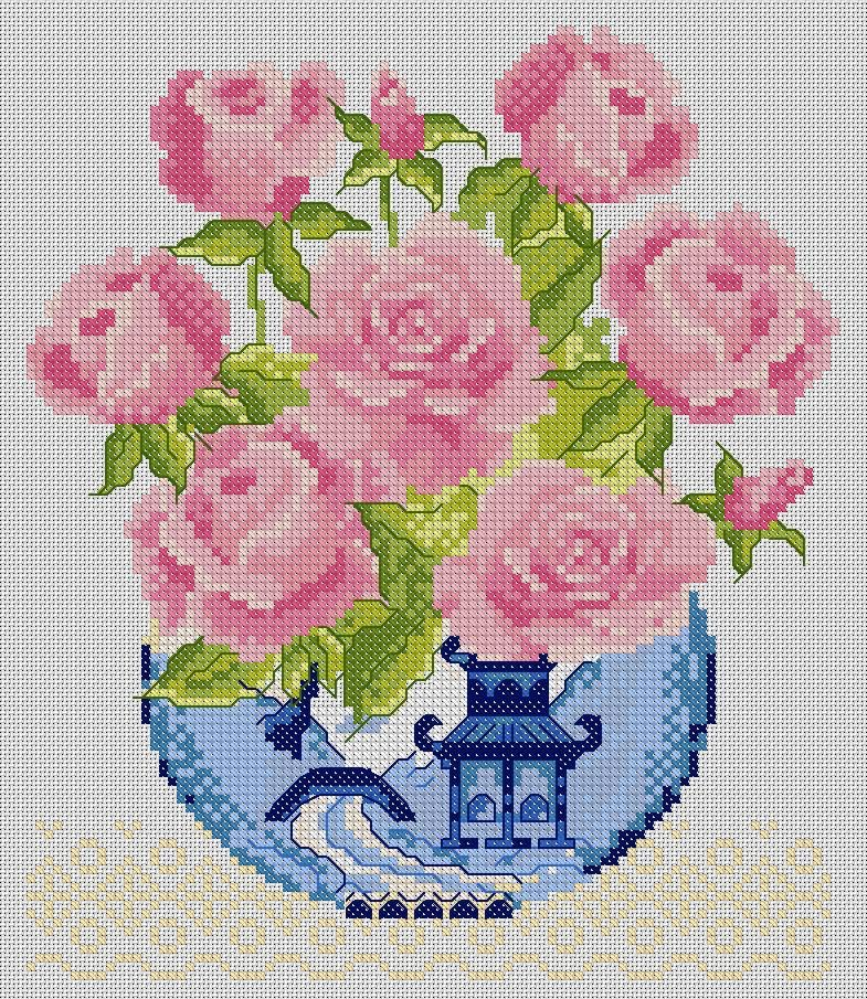 Rose Bowl Ваза с розами схема для вышивки крестом