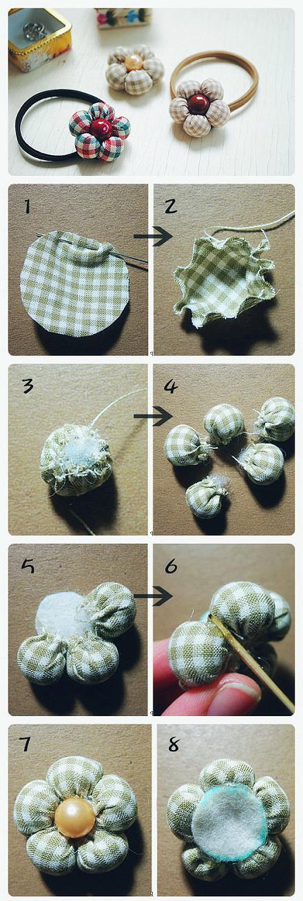 резинка для волос с мягким цветком из ткани