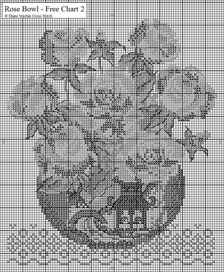схема вышивка крестиком ваза с розами