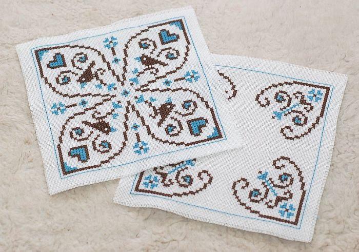 схема для вышивки бискорню двухцветная