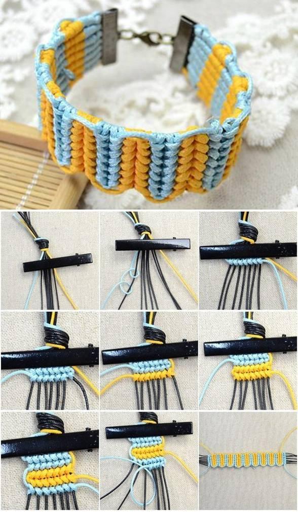 плетеный яркий браслет