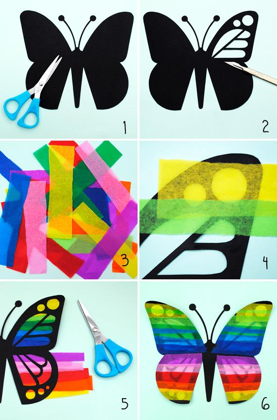 как сделать бабочку декор цветная бумага бумага тишью