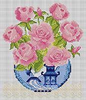 схема вышивки крестом розы букет