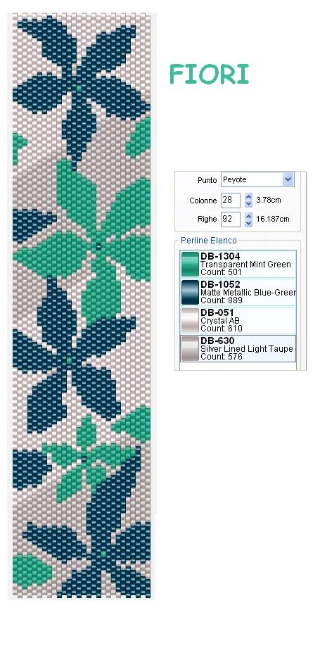 браслет цветы в технике пейот схема