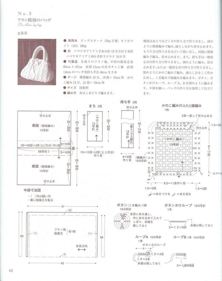 схема вязания сумки на спицах