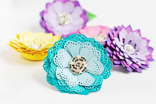 бумажные цветы с помощью фигурного дырокола