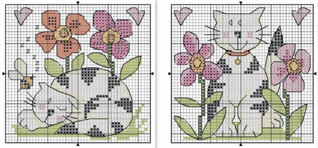 вышивка крестом схемы кошки