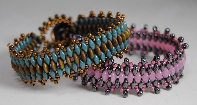 браслет из бусин с двойным отверстием схема плетения