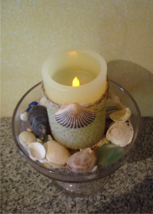 свеча своими руками декорирование песком