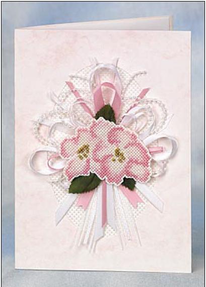 открытка Букет вышивка и ленты