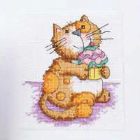 кошка рисованная мультяшная схема для вышивки