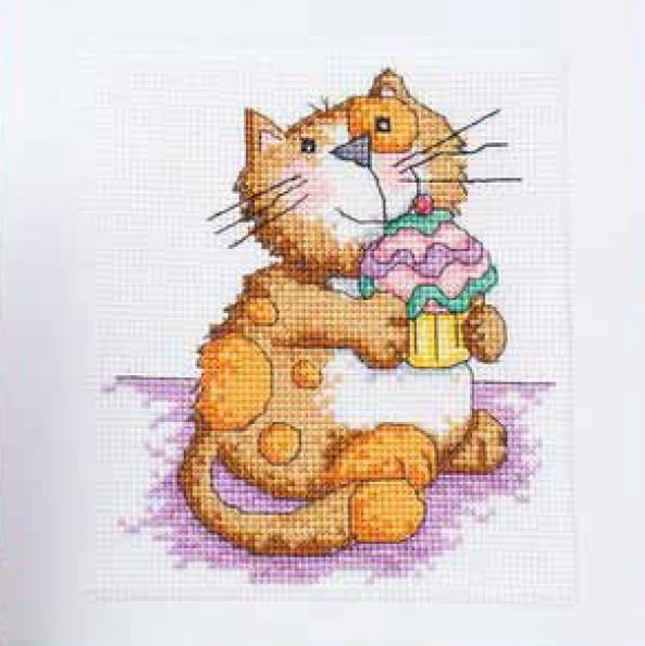 схема вышивка крестом кошка