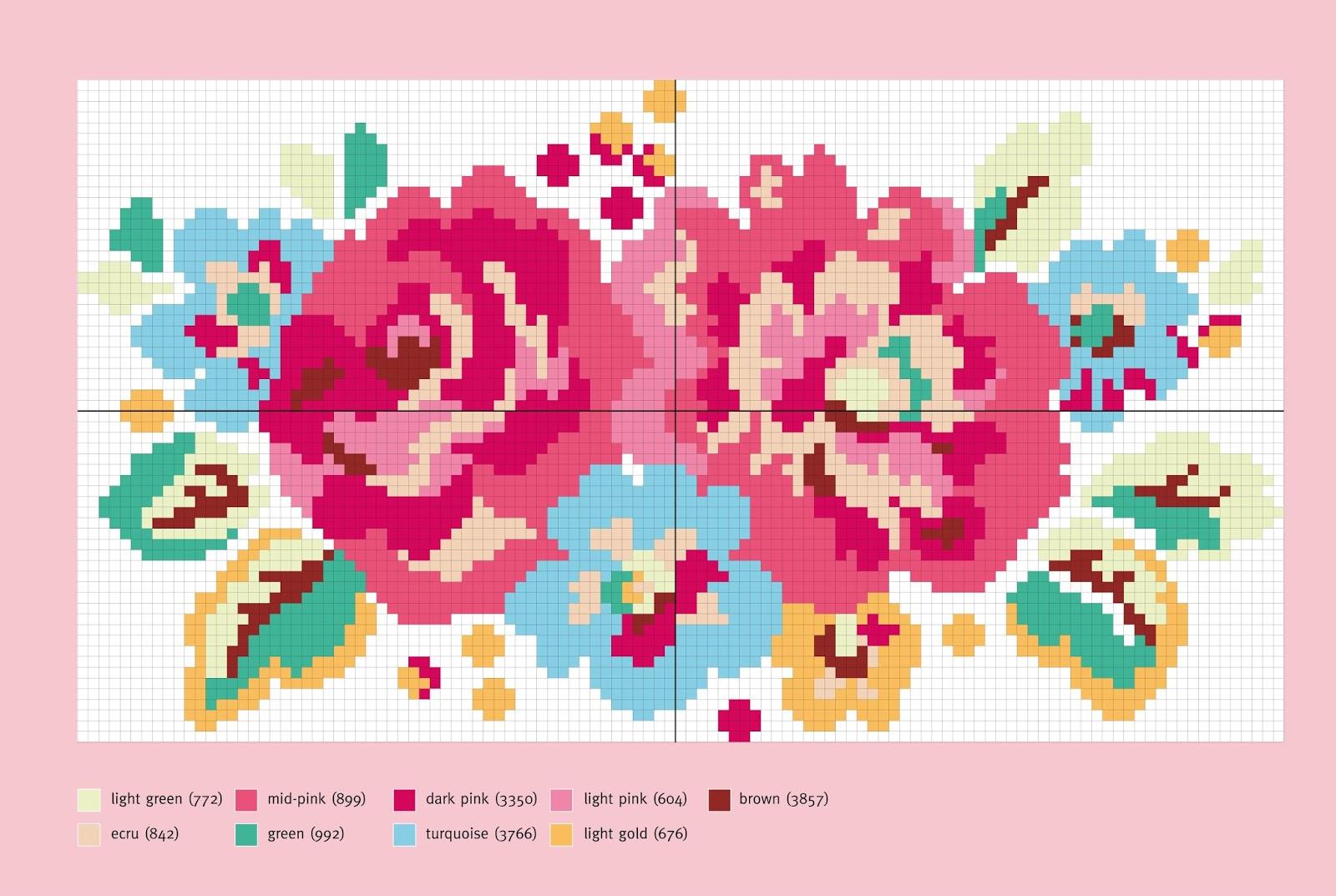 схема для вышивки цветы розы
