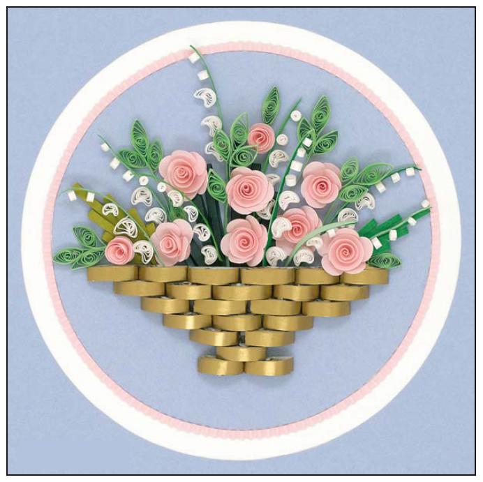 квиллинг панно розы в корзине