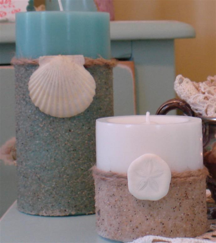 свеча с декором из песка и ракушек мастер класс