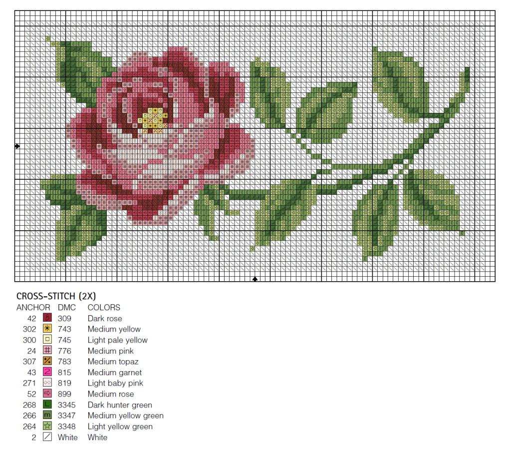 схема роза крестиком для футляра чехла обложки