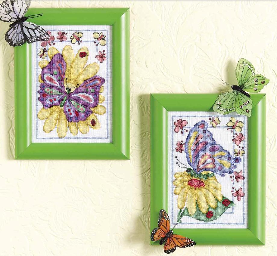 вышивка бабочки на цветке