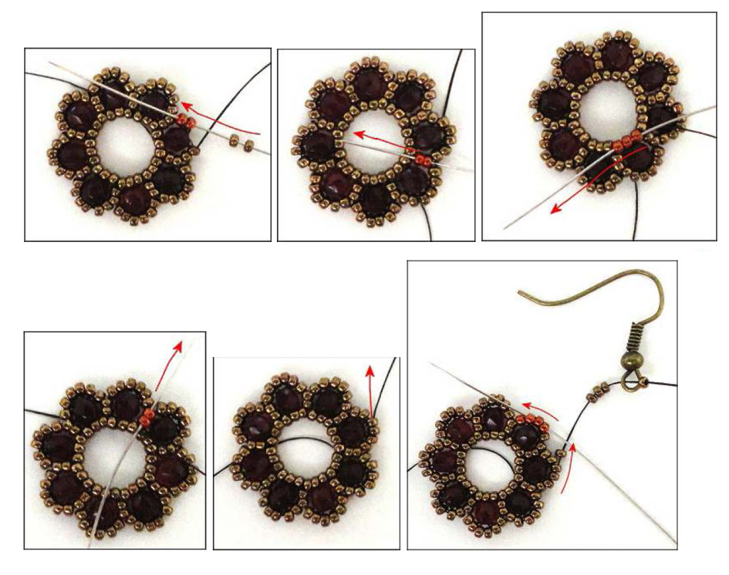 схема плетения серьги цветок