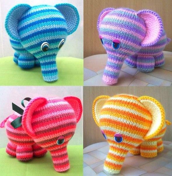радужный слоник спицами описание вязания