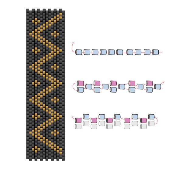 схема для браслета геометрический узор