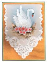 шаблон для открытки пергамано лебедь