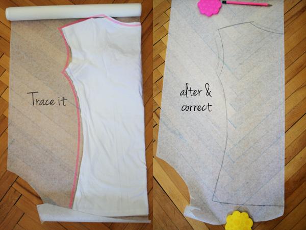 как сшить трикотажную футболку с кружевной вставкой