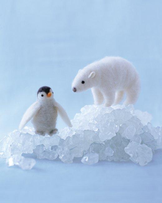 валяние игрушки белый медведь