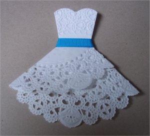 Открытка платье салфетка