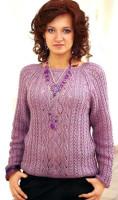 вязаный пуловер женский спицами