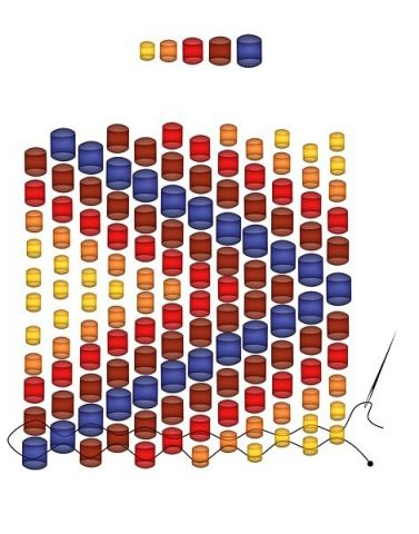плетение браслета из бисера разного размера