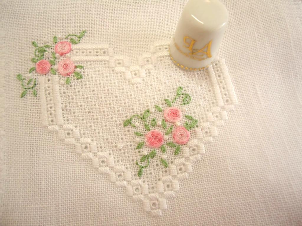 хардангер схема сердце розы